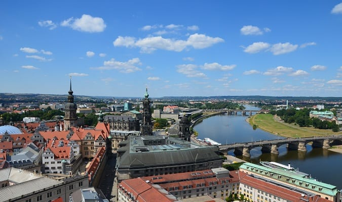 Panoramic view of Dresden with the River Elbe